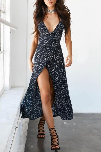 New Stylish Spaghetti Straps Floral Printed Split Front Maxi Tea Dress Slip Dress