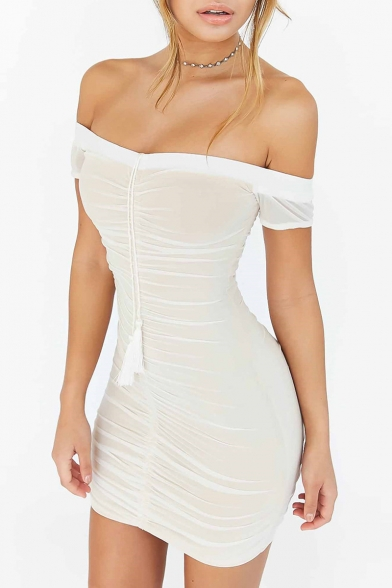 Sexy Off The Shoulder Short Sleeve Sashes Plain Mini Bodycon Dress
