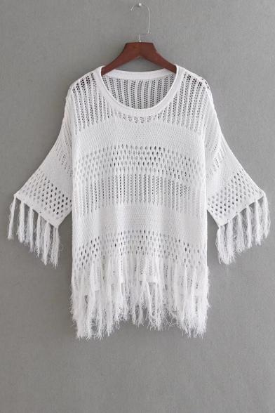 New Arrival Fashion Tassel Trim Half Sleeve Round Neck Hollow Plain Sweater