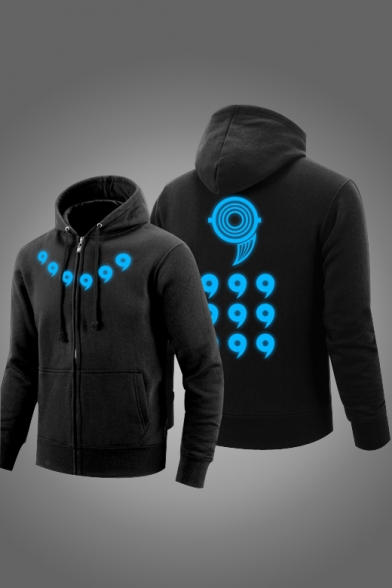 New Fashion Light Pattern Long Sleeve Casual Zip Up Unisex Hoodie