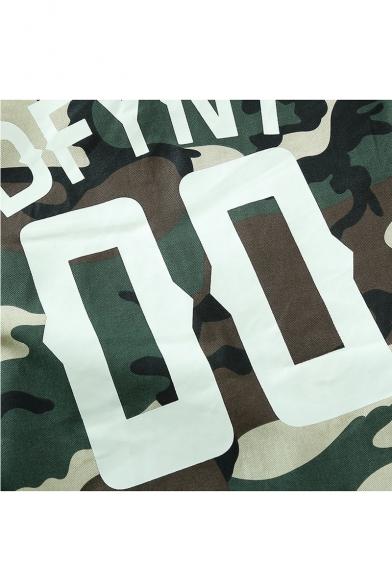 Stand Up Collar Long Sleeve Fashion Camouflage Printed Zip Up Baseball Jacket