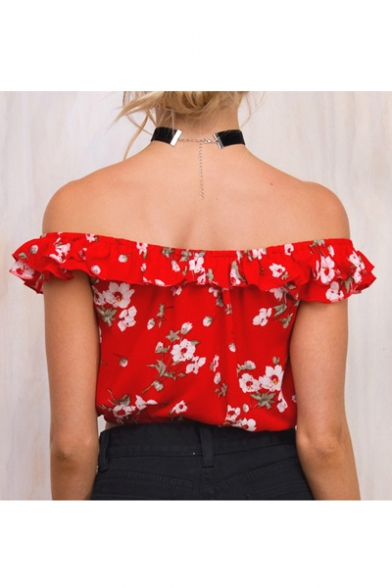 Summer's Off The Shoulder Ruffle Hem Floral Printed Cropped Chiffon Top