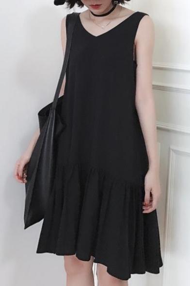 Chic Black V Neck Sleeveless Simple Plain Ruffle Hem Midi Tank Dress