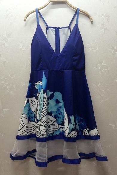 Chic Elegant Spaghetti Straps Sleeveless Floral Printed Mini Cami Dress