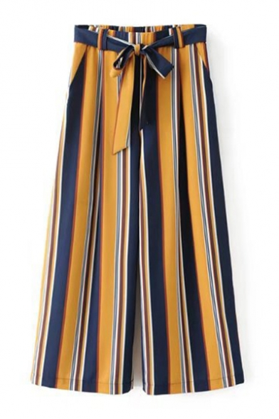 Fashion Color Block Stripe Printed Tied Waist Loose Wide Legs Culottes Pants