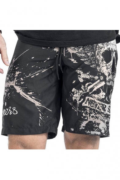 New Stylish Skull Printed Elastic Drawstring Waist Loose Sports Shorts