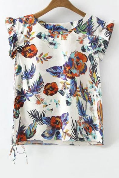 Round Neck Ruffle Sleeve Chic Floral Printed Pullover Loose Blouse