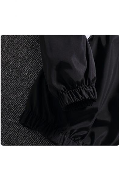 Stylish Color Block Letter Print Oversize Long Sleeve Hooded Zip Up Coat