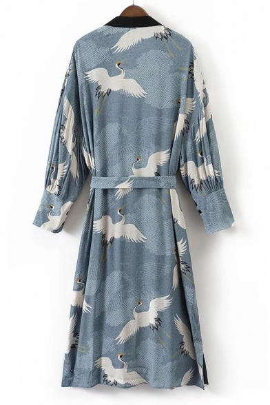 Belt Tunic Women's Printed Open Waist Long Crane Front Kimonos Sleeve q8wqY7
