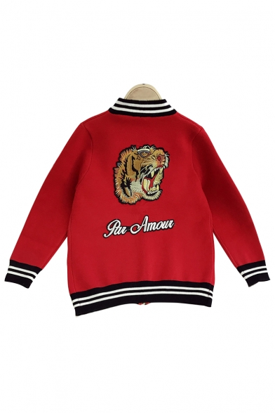 Color Block Tiger Head Letter Printed Long Sleeve Zip Up Baseball Jacket