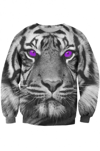 Purple Long Fashion 3D Sleeve Tiger Eyes Neck Round Sweatshirt Pattern f554xqwXg