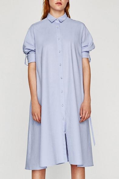 Fashion Beaded Buttons Down Lapel Collar Long Sleeve Midi Shirt Dress