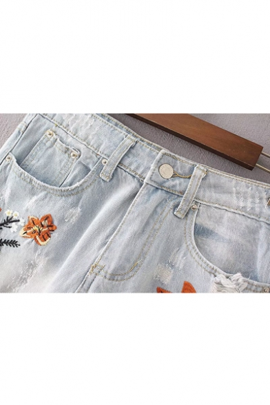 Fashion Embroidery Floral Pattern Cutout High Waist Jeans