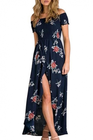 Holiday Summer's Floral Print Off The Shoulder Short Sleeve Slit Front Maxi Beach Dress
