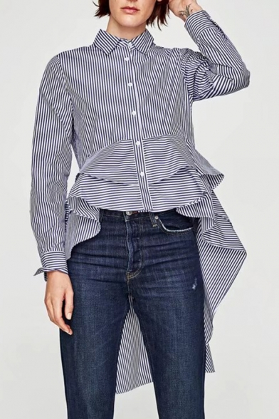 Lapel Collar Long Sleeve Striped Pattern Fashion Swallow-Tailed Shirt