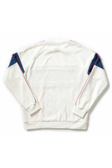 Round Raglan Printed Drawstring Sweatshirt Sleeve Neck Pullover Letter Long ZfwIq
