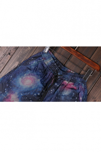 New Stylish Digital Galaxy Pattern Drawstring Waist Sports Shorts