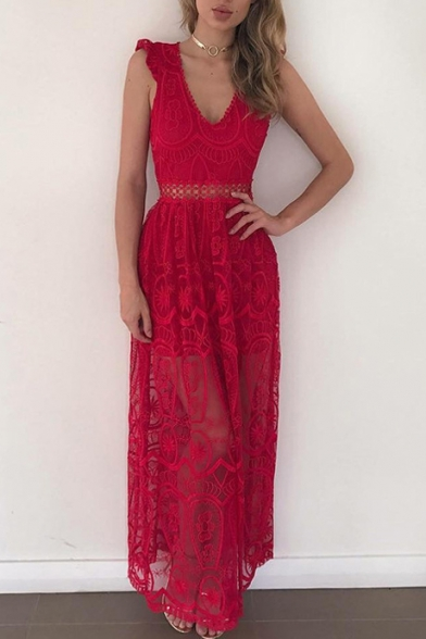 Sexy Plunge Neck Sleeveless Chic Lace Hollow Out Maxi Plain Dress