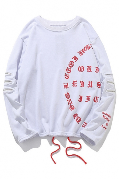 Sweatshirt Printed Street Neck Ribbons Round Letter Style Sleeve Long wPP8H