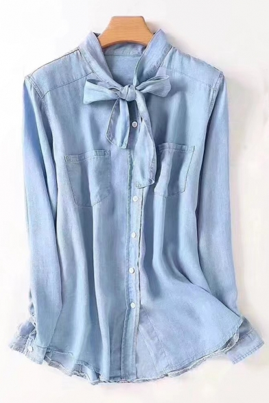 00e8a1797a Women's Bow Stand Up Collar Long Sleeve Single Breasted Denim Shirt