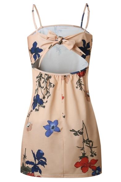 Chic Floral Printed Bow Tie Open Back Spaghetti Straps Mini Slip Dress