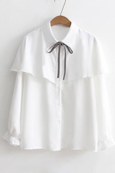 e5ea0b0e ... Chic Ruffle Hem Bow Tie Collar Long Sleeve Basic Plain Buttons Down  Shirt ...