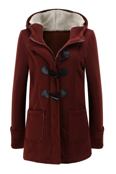 Plain Placket Coat Long Winter Hooded Chic Tunic Zipper Sleeve Collection q0YWxv