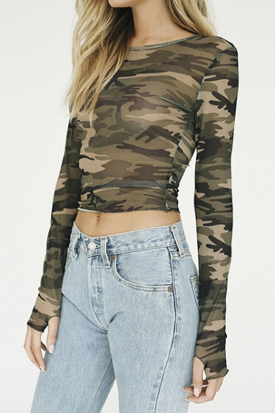 Classic Camouflage Printed Round Neck Long Sleeve Sexy Slim Cropped T-Shirt