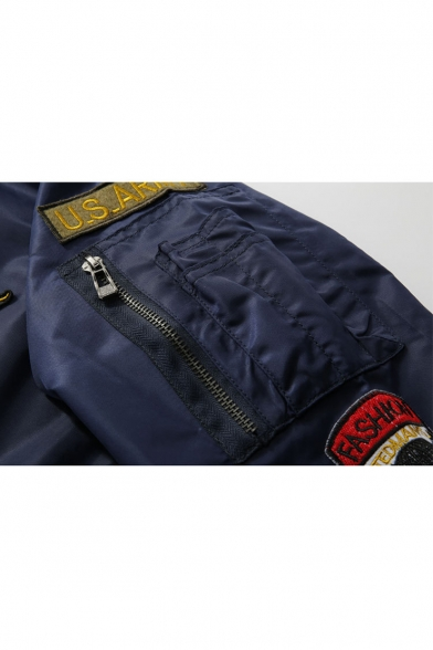 Fashion Badge Patched Stand-Up Collar Long Sleeve Zip Up Bomber Jacket