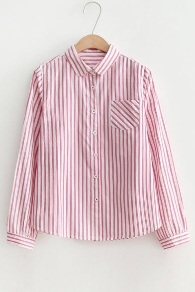 98281bfc19dc Fashion Striped Pattern Lapel Collar Long Sleeve Buttons Down Shirt with Single  Pocket