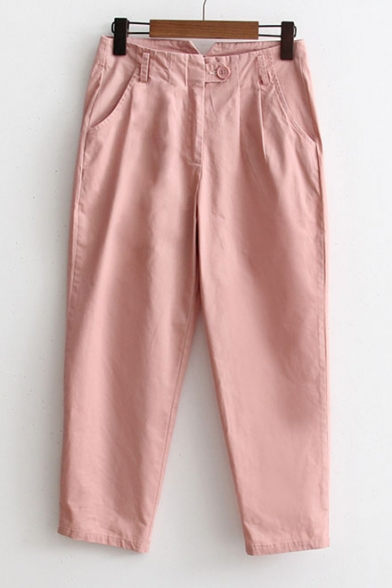 Loose Leisure Simple Plain Casual Pants with Pockets
