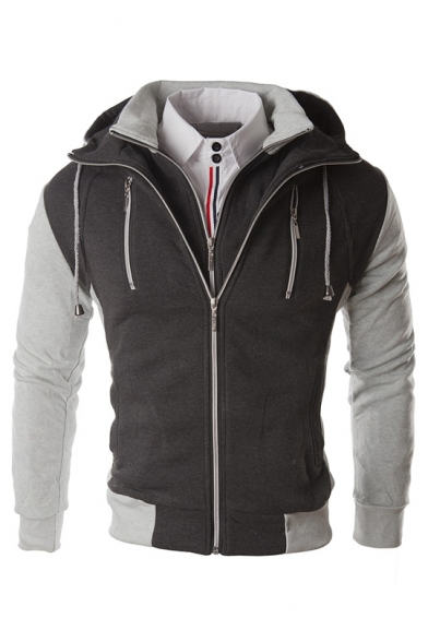 Men's Drawstring Hooded Zipper Placket Long Sleeve False Two Pieces Hoodie