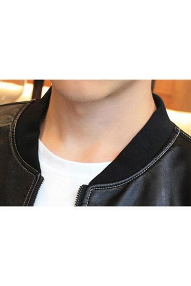 Stand Men's Zip PU Fly Biker Up Letter Appliqued Jacket Collar TFEnqFAw