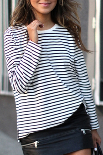 Casual Black & White Striped Long Sleeve Round Neck Pullover Sweatshirt