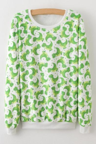 Fashion Cartoon Animal Printed Round Neck Long Sleeve Casual Sweatshirt