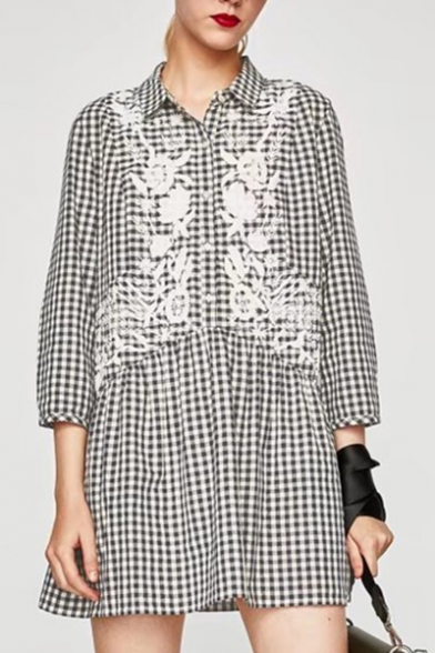 Lapel Collar Long Sleeve Floral Embroidered Plaids Pattern Mini Shirt Dress