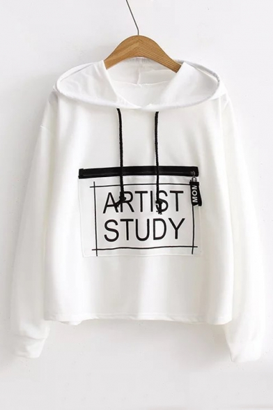 Long Loose Stylish Pattern Embellished Letter Sleeve Leisure Hoodie Zip New xXRv7qwpH7