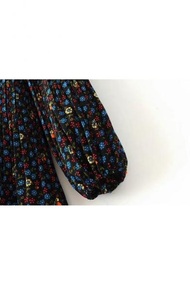 Round Neck Long Sleeve Lantern Sleeve Mini Loose Swing Tea Dress