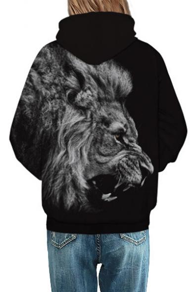 Unisex Contrast Lion 3D Printed Long Sleeve Hoodie