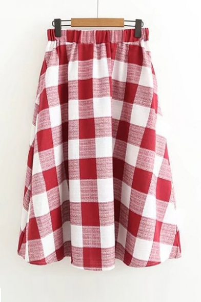 Vintage Plaids Pattern High Rise Elastic Waist Midi A Line Skirt Beautifulhalo Com