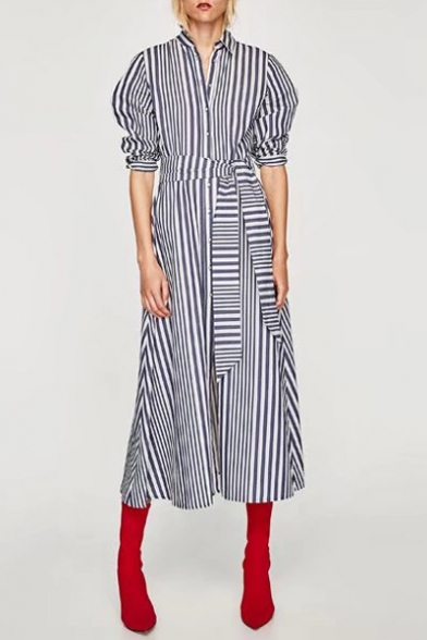 d72f6263a5 Chic Striped Pattern Lapel Collar Long Sleeve Buttons Down Maxi Shirt Dress  ...
