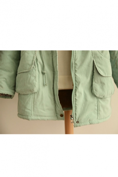 Fashion Letter Patched Hooded Long Sleeve Winter's Warm Zip Up Cotton Coat