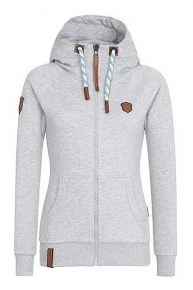 Hot Fashion Casual Leisure Long Sleeve Warm Zip Up Slim Hoodie