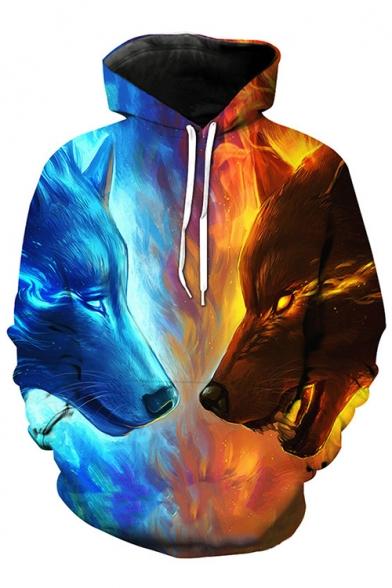 New Trendy Fashion Digital Wolf Pattern Casual Long Sleeve Hoodie