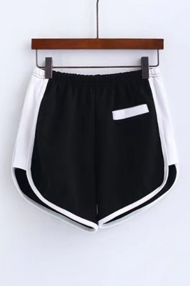 Summer's High Rise Elastic Waist Chic Color Block Bodybuilding Sports Shorts