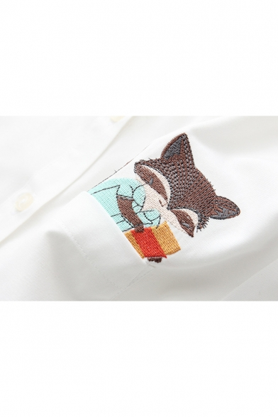 Shirt with Pocket Breasted Cartoon One Single Pattern Fox Sleeve Cute Embroidery Long 8w6zqpUx