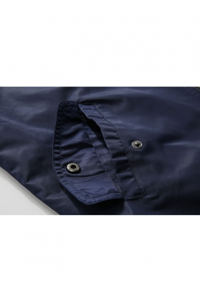 b997c09f22ab5 ... Fashion Badge Patched Stand-Up Collar Long Sleeve Zip Up Bomber Jacket  ...