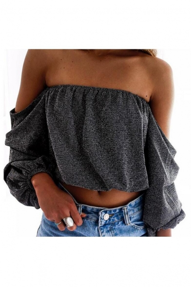 Hot Fashion Sexy Off The Shoulder Long Sleeve Plain Cropped Blouse