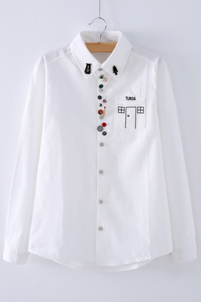 New Arrival Fashion Buttons Down Fresh Printed Lapel Collar Long Sleeve Shirt