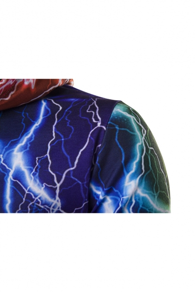 New Pattern Fashion Casual Sleeve Digital Lightning Hoodie Long rrfg6FS
